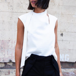 Tibi - Chalky Drape Sleeveless Pleat Tie Top, available at LCD.