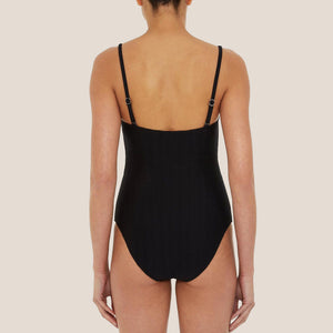 Prism - Chateau Swimsuit in Black Waves, back view, available at LCD.