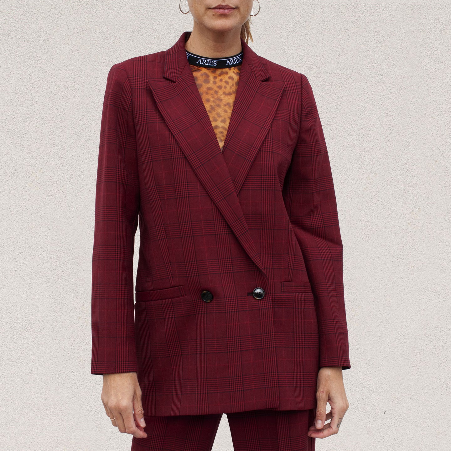 Ganni - Checked Suit Blazer, front view, available at LCD.