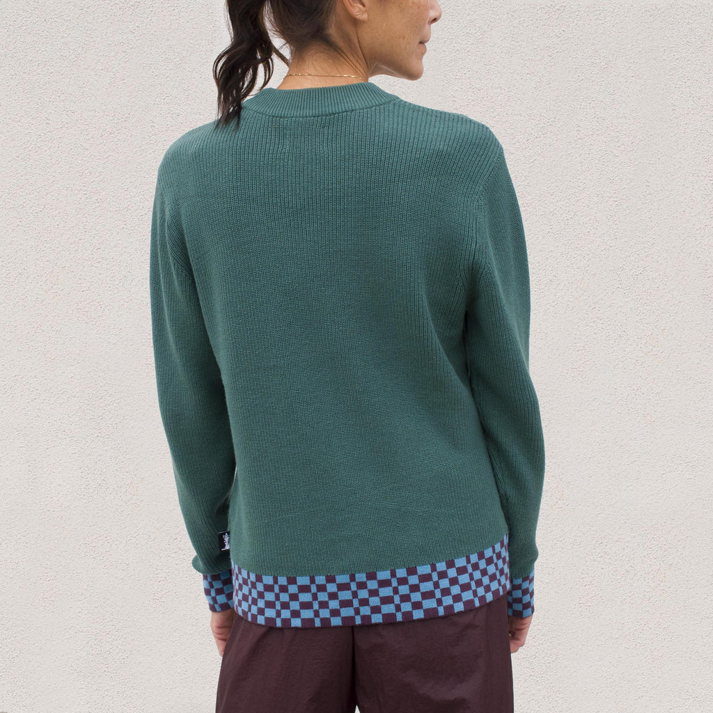 Stussy - Checker Trim Sweater - Olive, back view.