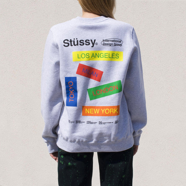 Stussy - City Banners Crew in Ash Heather, back view.