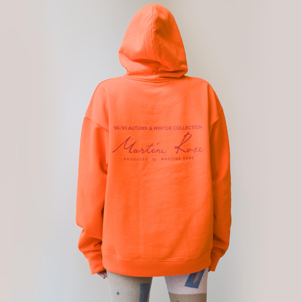 Martine Rose - Classic Hoodie - Fluoro Orange, back view, available at LCD.