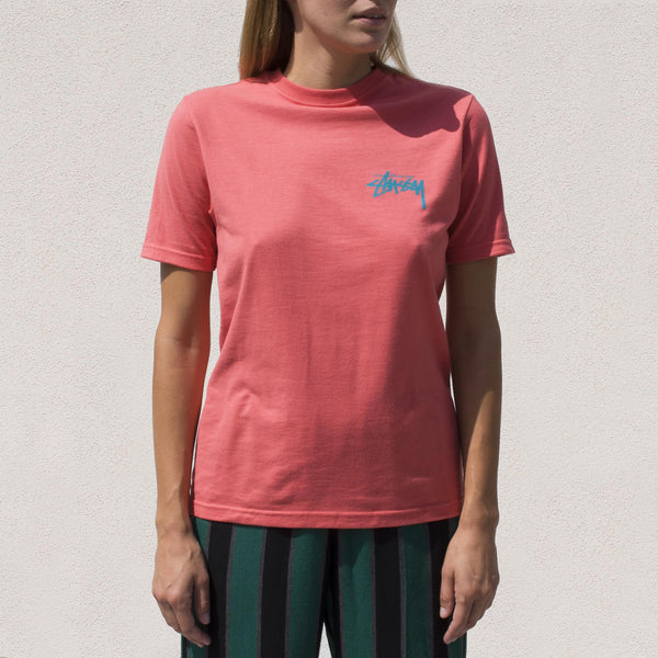 Stussy - Classic Stock Tee in Pale Red, front view.