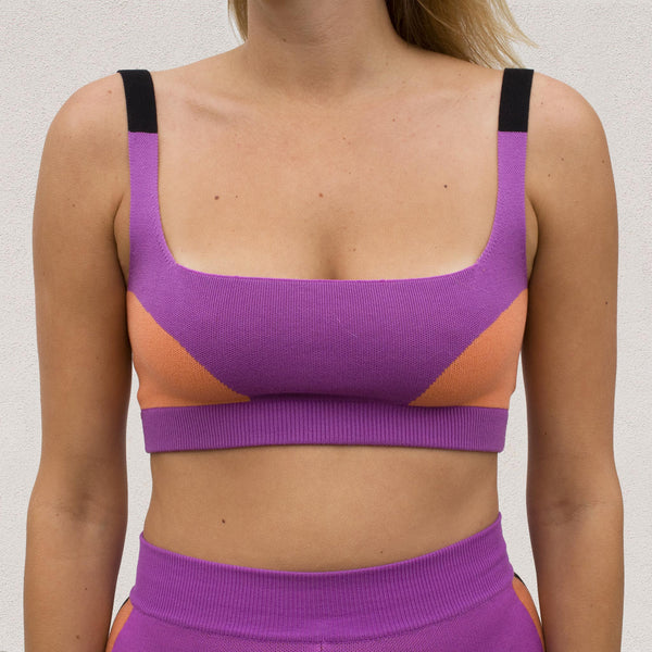 Nagnata - Color Block Bralet in Purple Haze / Ochre, front view.