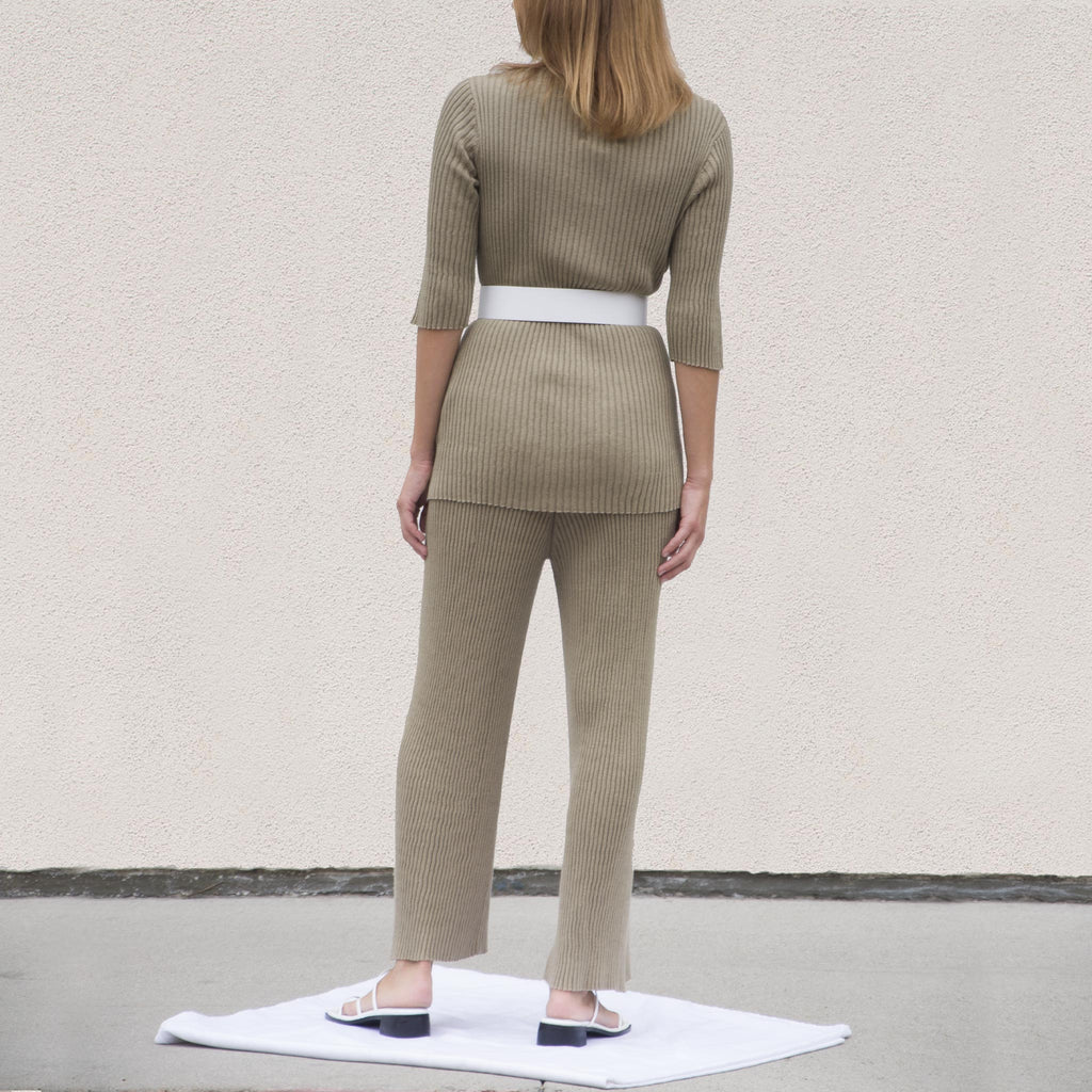 Lauren Manoogian - Column Tee - Drab, back view, available at LCD.