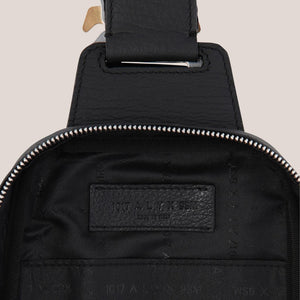 1017 Alyx 9SM - Small Crossbody Bag in Black, detailed view of interior, available at LCD.