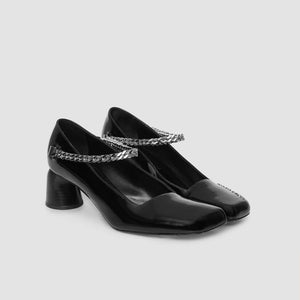 1017 Alyx 9SM - Medium Cubix Chain Heel, angled view, available at LCD.