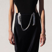 Load image into Gallery viewer, Collina Strada - Curtain Yod Skirt - Black Satin, detailed front view, available at LCD.