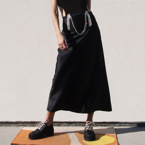 Collina Strada - Curtain Yod Skirt - Black Satin, front view, available at LCD.