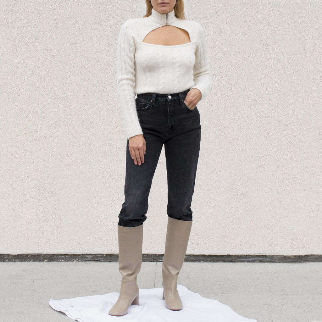 Ganni - Cutout Cable Knit Sweater, front view.