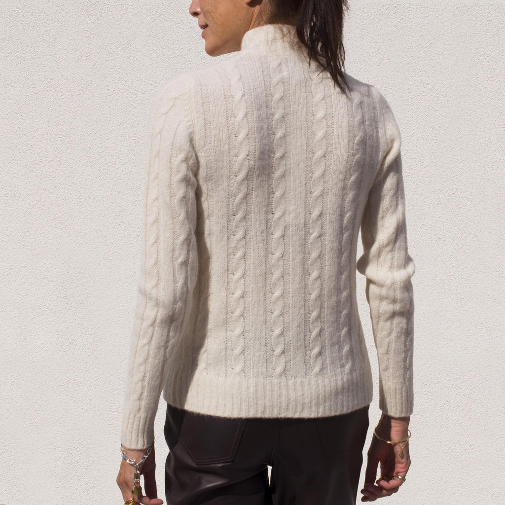 Ganni - Cutout Cable Knit Sweater, back view.