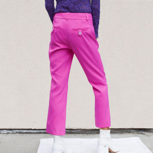 Sies Marjan - Danit Compact Stretch Flare Pant in Fluo Pink, back view, available at LCD.
