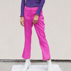 Sies Marjan - Danit Compact Stretch Flare Pant in Fluo Pink, front view, available at LCD.