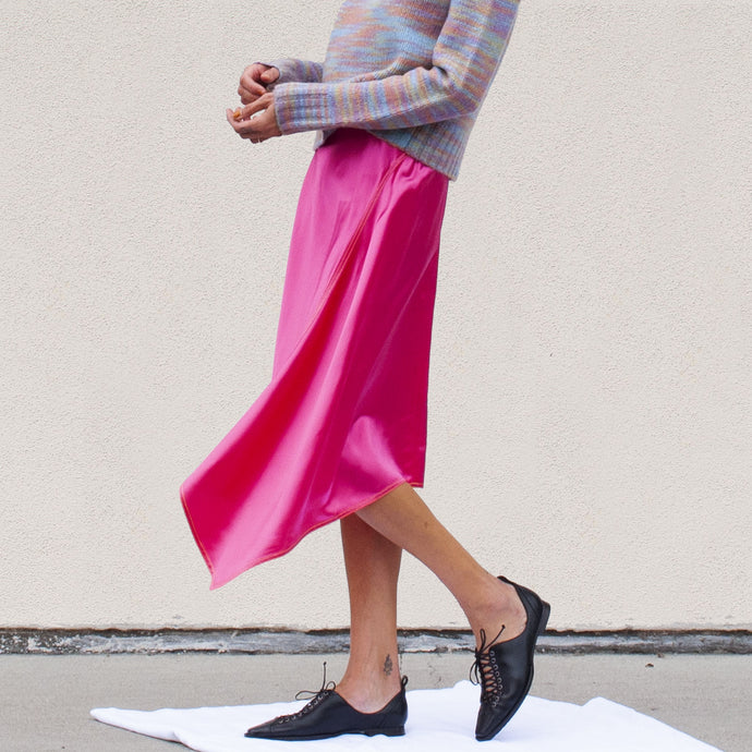 Sies Marjan - Darby Satin Skirt, side view, available at LCD.