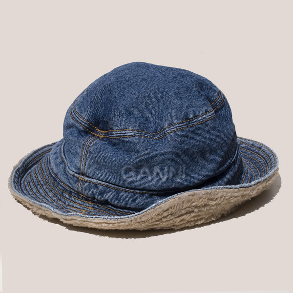 Ganni - Denim Bucket Hat, available at LCD.