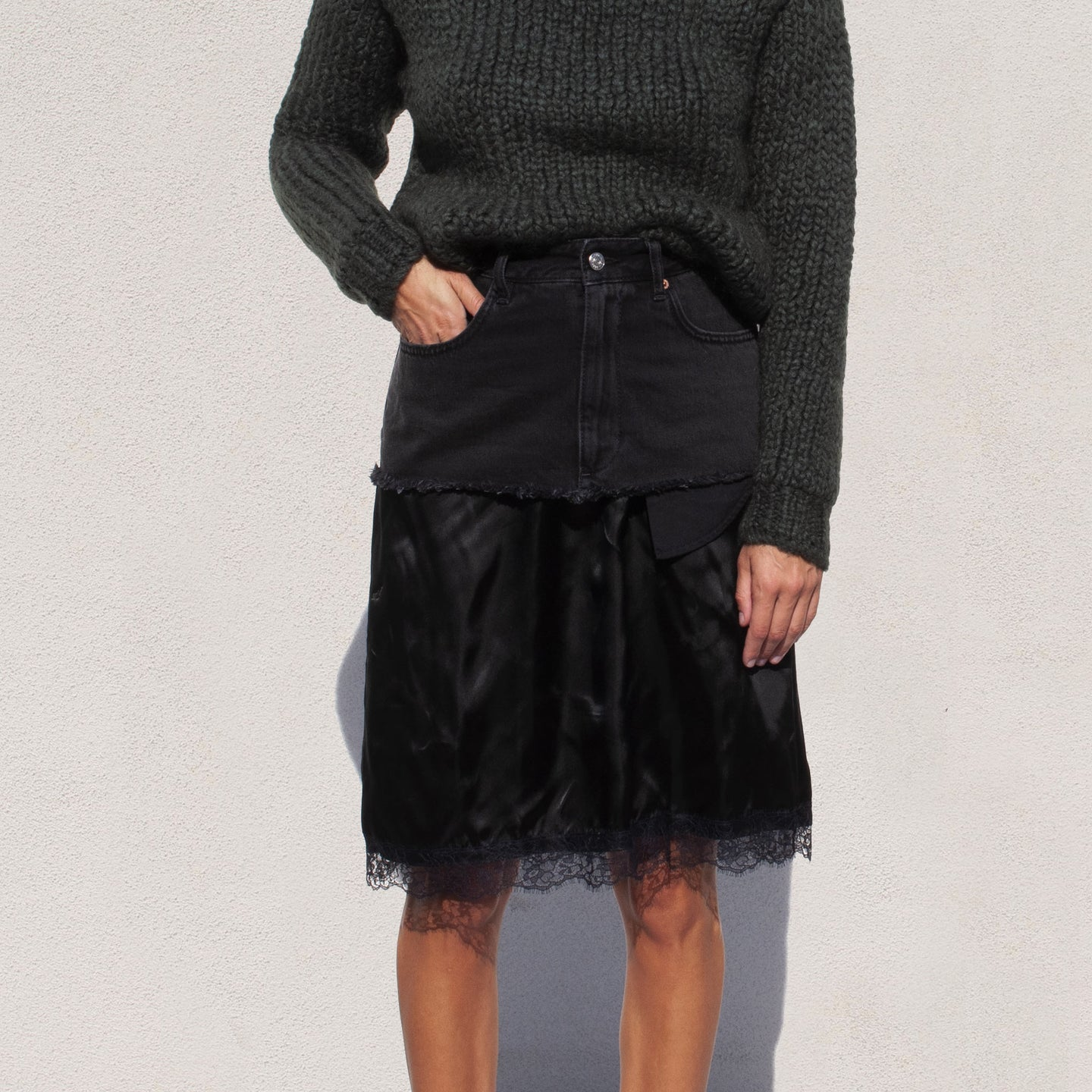 MM6 - Denim Slip Skirt, front view, available at LCD.