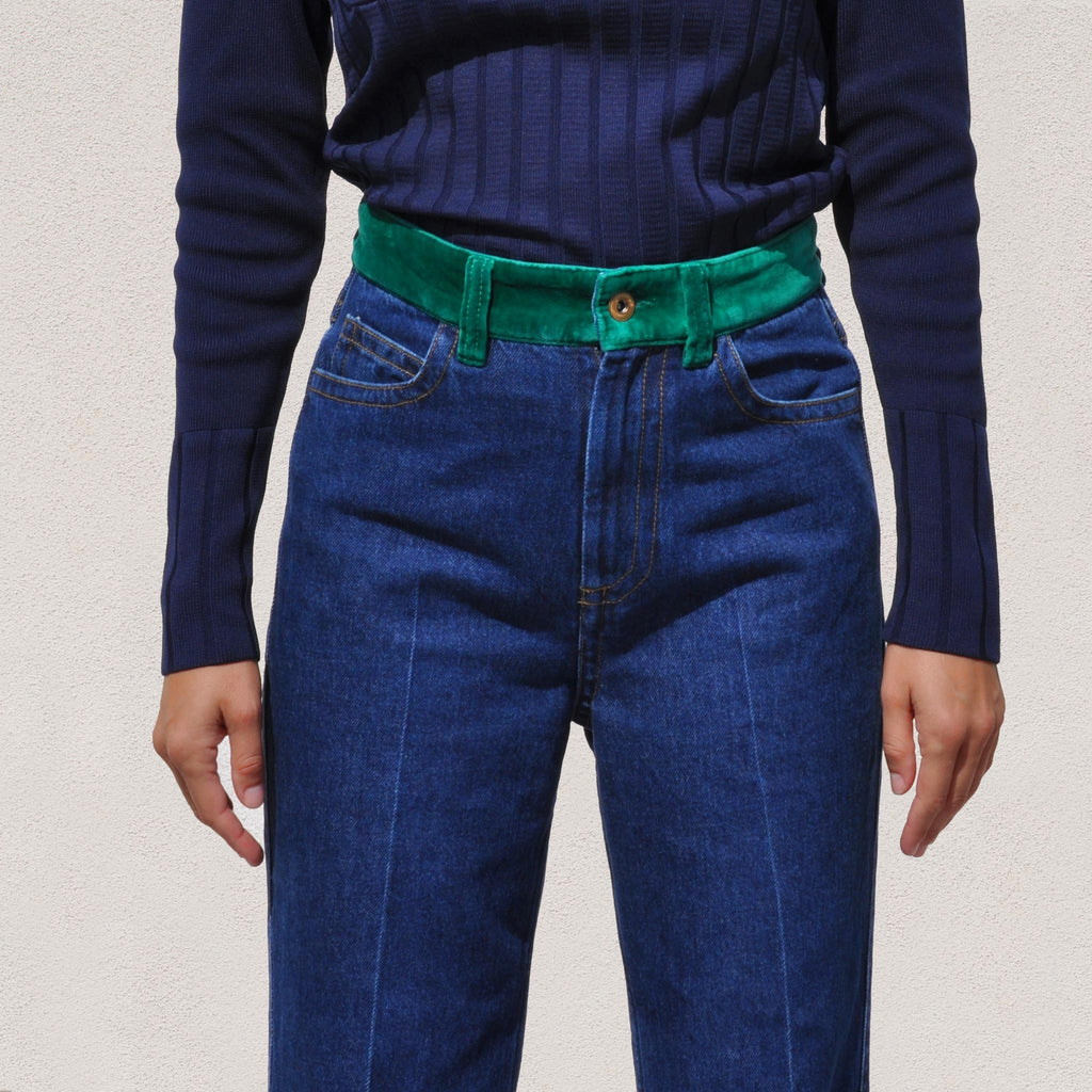 Wales Bonner - Dub Contrast Waist Jeans, front detail, available at LCD.