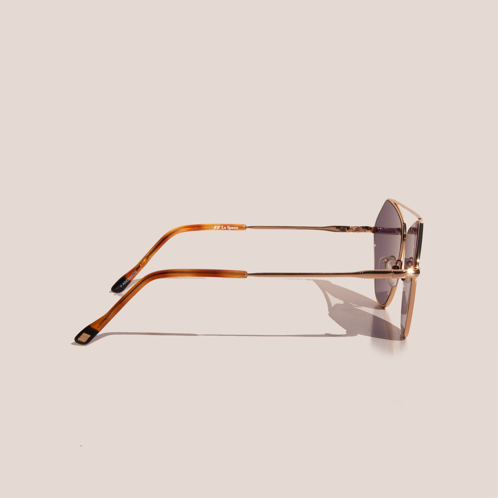 Le Specs - Dweller Sunglasses - Bright Gold, side view, available at LCD.