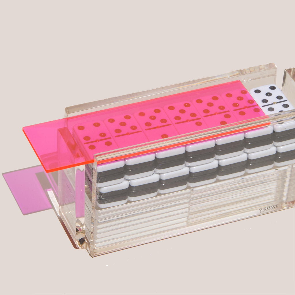 Luxe Dominoes - El Catire Domino Set, Neon Pink, available at LCD.