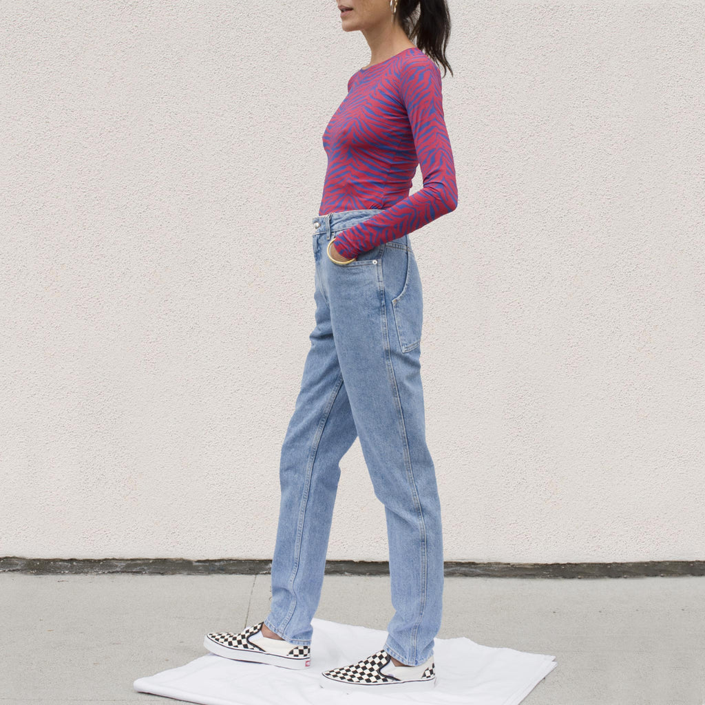 Eckhaus Latta - El Jean - True Blue, side view, available at LCD.