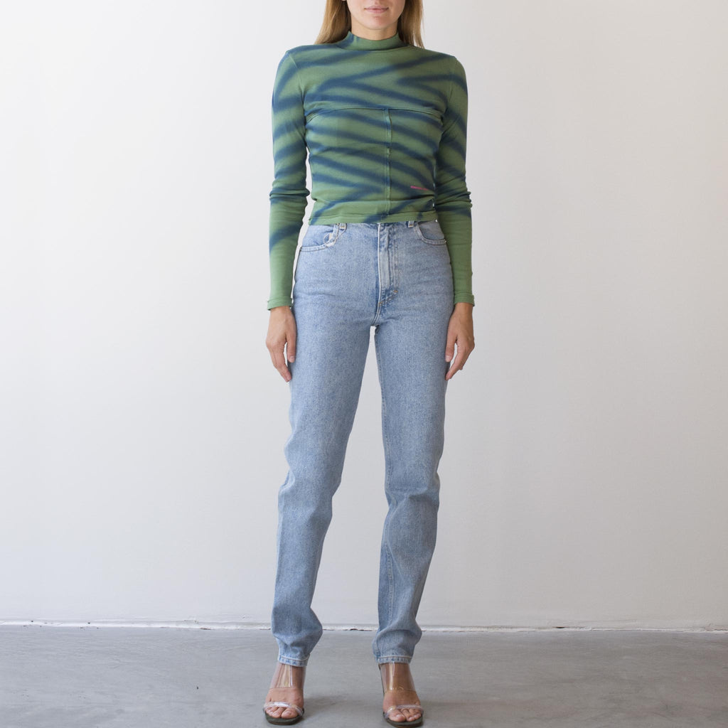 Eckhaus Latta - Lapped Baby Turtleneck - Directional Spray, front view, pictured with Eckhaus Latta El Jeans in True Blue, available at LCD.