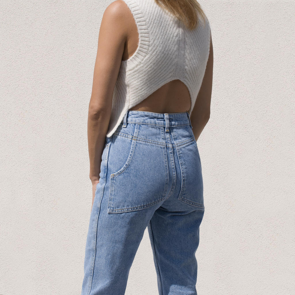 Eckhaus Latta - El Jean - True Blue, back view, available at LCD.