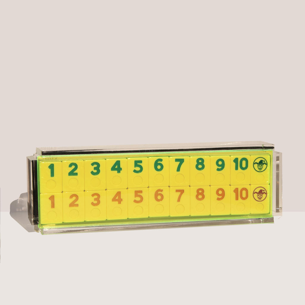Luxe Dominoes - El Rumi Rummy Tile Game, Neon Green, available at LCD.