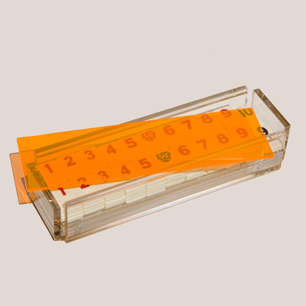 Luxe Dominoes - El Rumi Rummy Tile Game, Neon Orange, available at LCD.