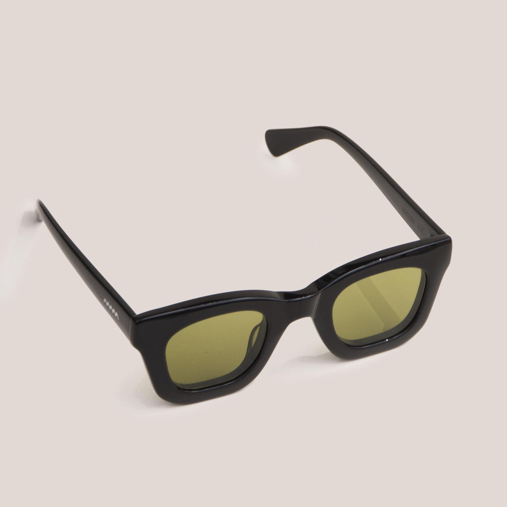 Braindead - Elia Sunglasses - Black, angled view, available at LCD.
