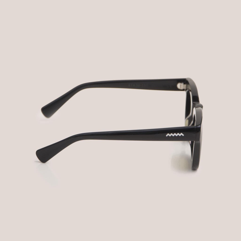 Braindead - Elia Sunglasses - Black, side view, available at LCD.