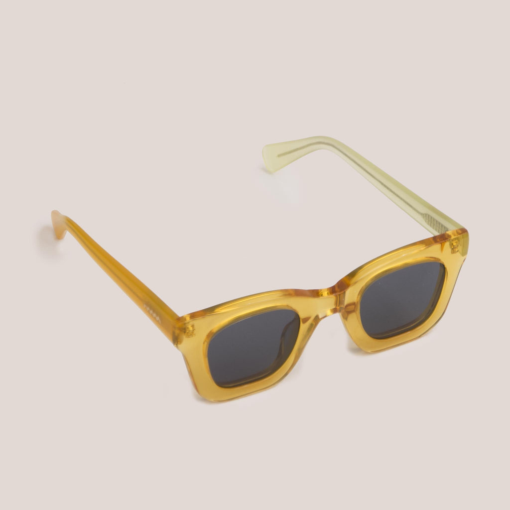 Braindead - Elia Sunglasses - Multi Amber, angled view, available at LCD.