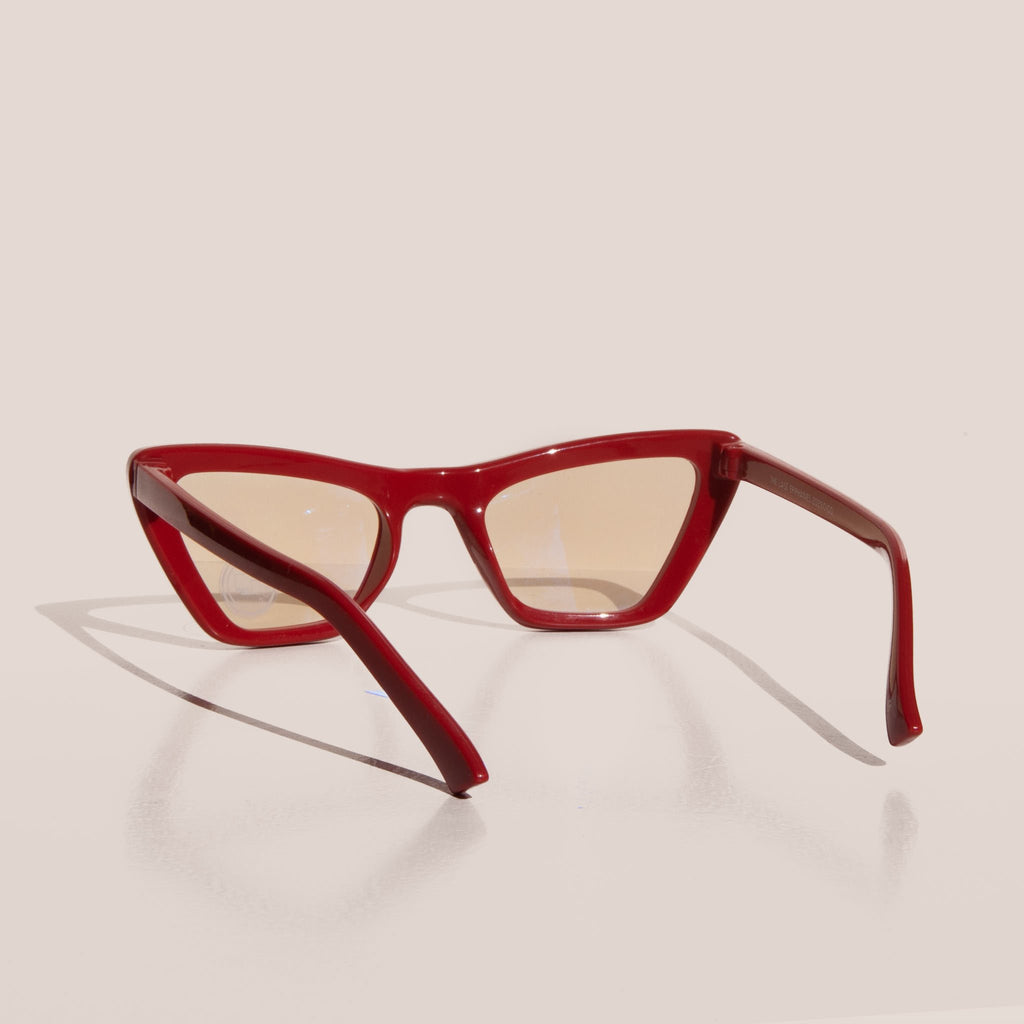 The Book Club - The Last Epiphany Glasses - Cherry, back view, available at LCD.