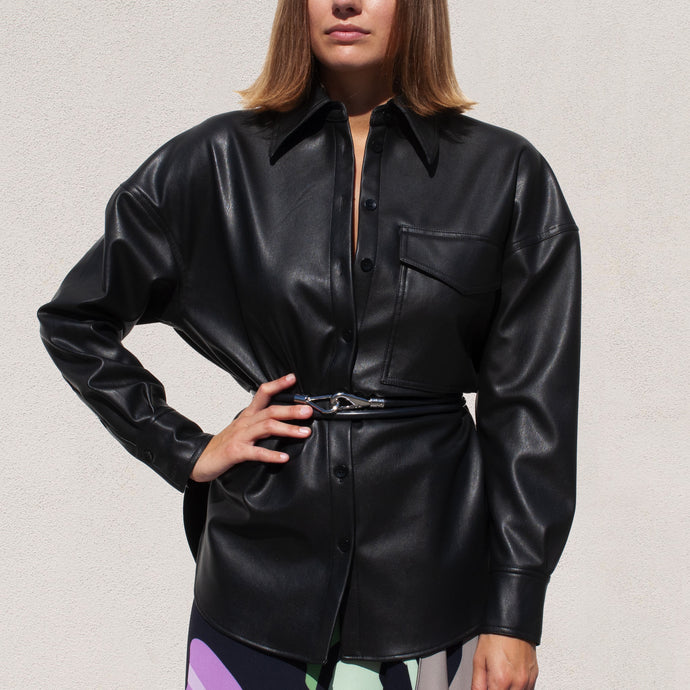 Tibi - Faux Leather Utility Blouse, front view, available at LCD.