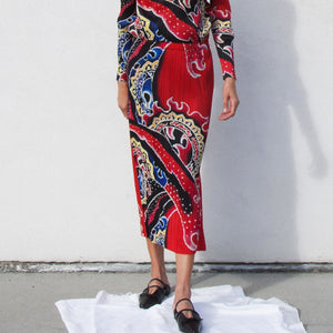 Pleats Please - Flame Print Long Skirt , available at LCD