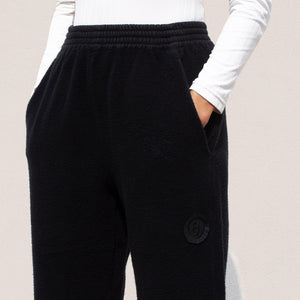 MM6 - Fleece Crop Pants, detail angled view, available at LCD.