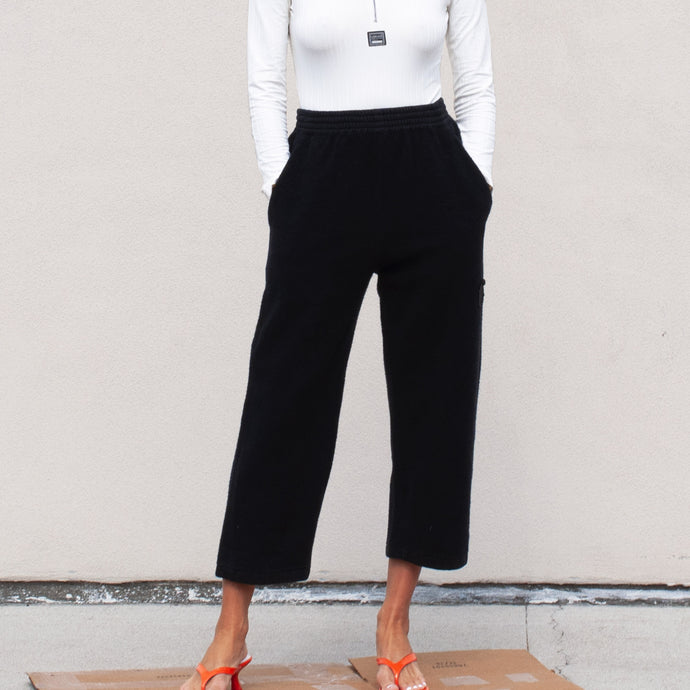 MM6 - Fleece Crop Pants, front view, available at LCD.
