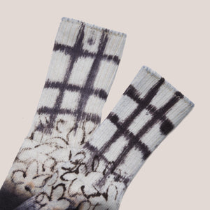 Collina Strada - Flower Grid Socks - Black, available at LCD.
