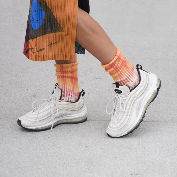 Collina Strada - Flower Grid Socks - Pink/Orange, available at LCD.