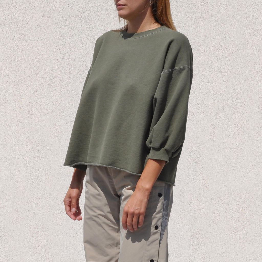 Rachel Comey - Fond Sweatshirt - Olive, angled view, available at LCD.