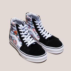 Vans - UA Sk8-Hi - Garden Floral, angled view, available at LCD.