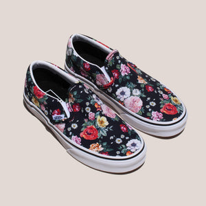 Vans - UA Classic Slip-On - Garden Floral, angled view, available at LCD.