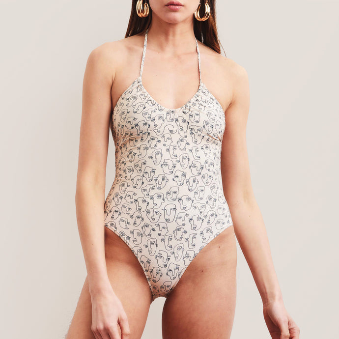 Bower Swimwear - Bower x The Line Gathering One Piece Swimsuit, front view, available at LCD.