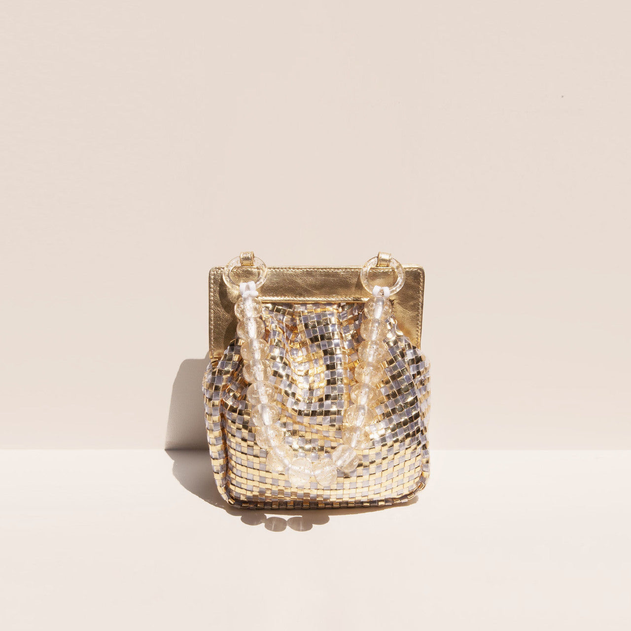 Maryam Nassir Zadeh - Glow Purse in Gold, front view, available at LCD.