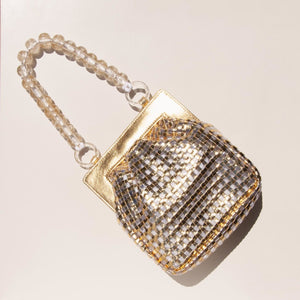 Maryam Nassir Zadeh - Glow Purse in Gold, aerial view, available at LCD.