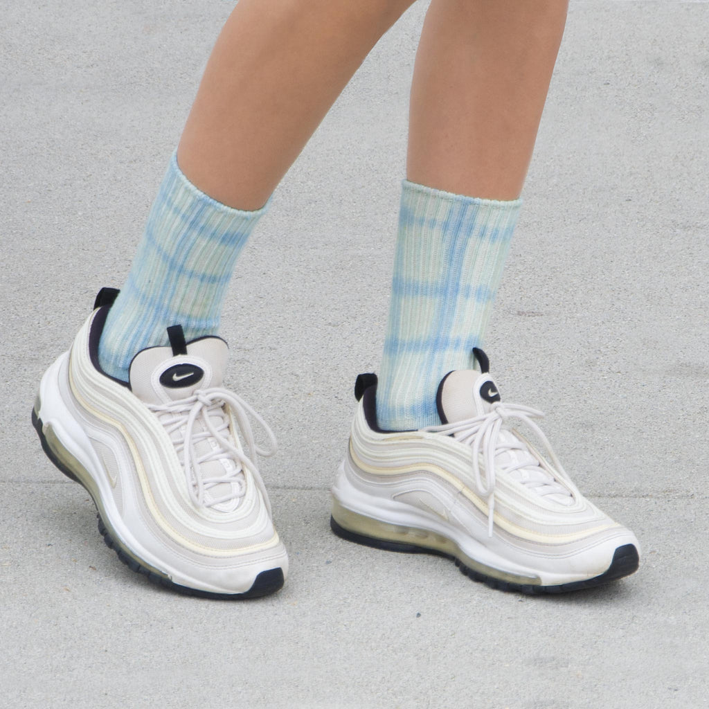 Collina Strada - Grid Socks - Light Blue, available at LCD.