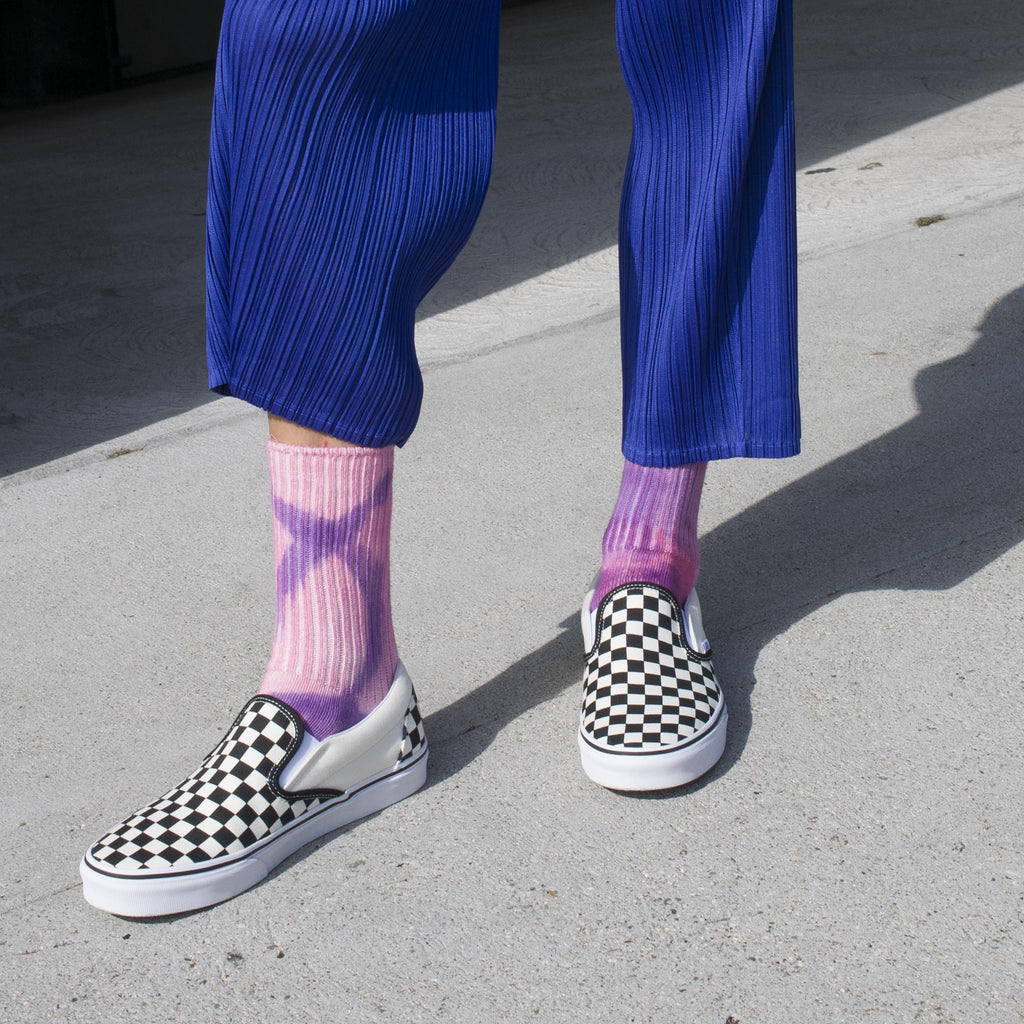 Collina Strada - Grid Socks - Pink Pool, pictured on body.