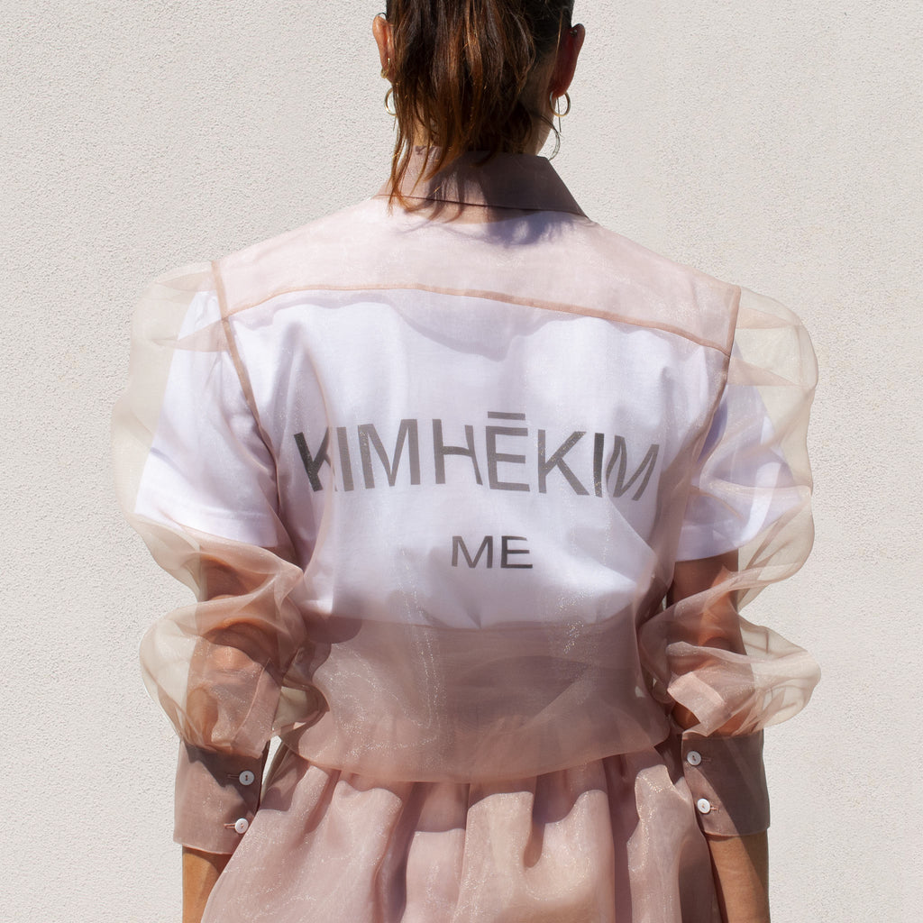 Kimhekim - Guifei Organza Shirt in Beige, back view, available at LCD.