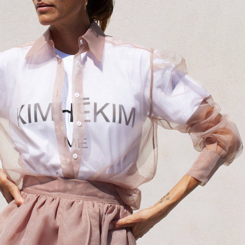Kimhekim - Guifei Organza Shirt in Beige, detail view, available at LCD.