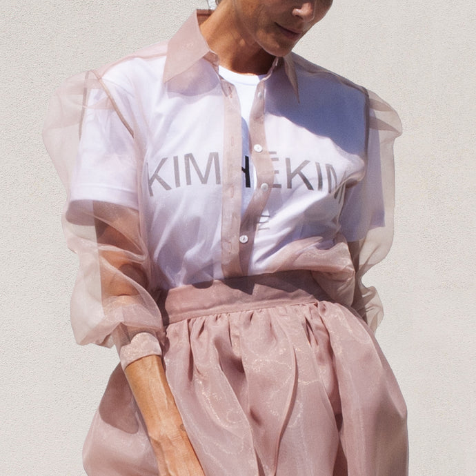 Kimhekim - Guifei Organza Shirt in Beige, front view, available at LCD.