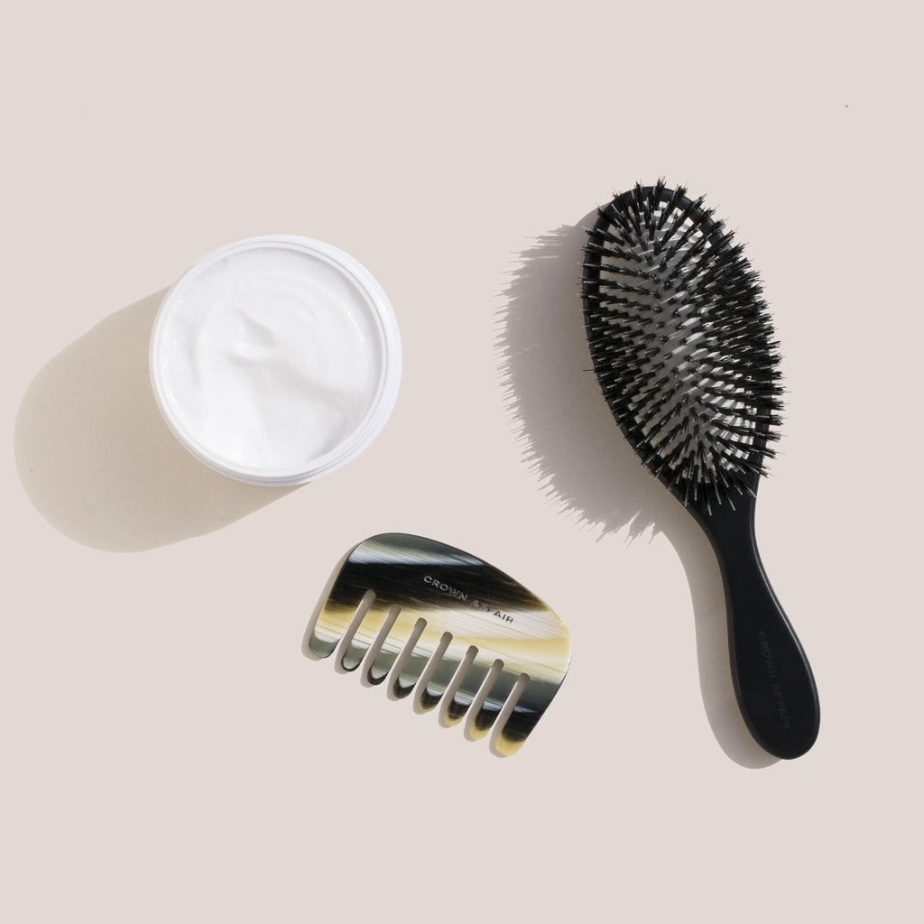 Crown Affair - Hair Renewal Mask, pictured with the Crown Affair Comb 001 in Horn and the Brush 001 in Black.